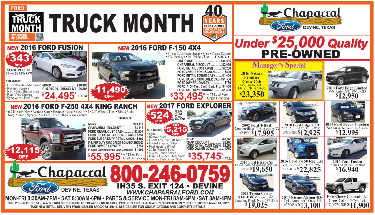 Weekly Chaparral Ford deals