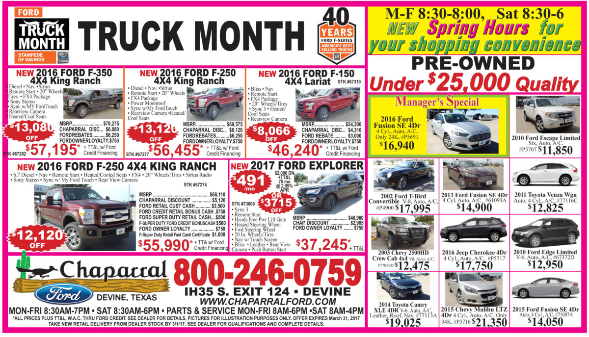 Chaparral Ford deals for the week of 3-29-17
