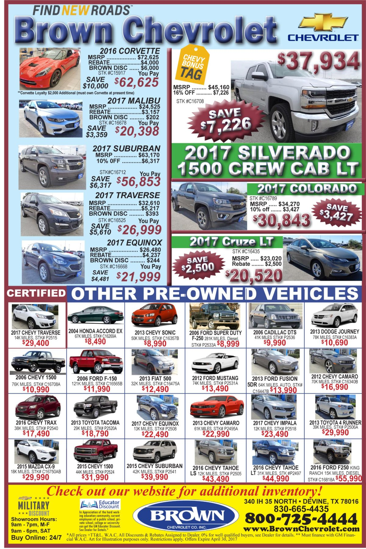 Brown Chevrolet deals for the week of 4-26-17