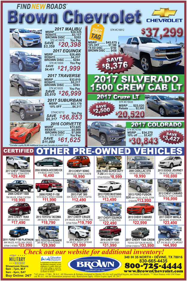 Brown Chevrolet deals for the week of April 19, 2017