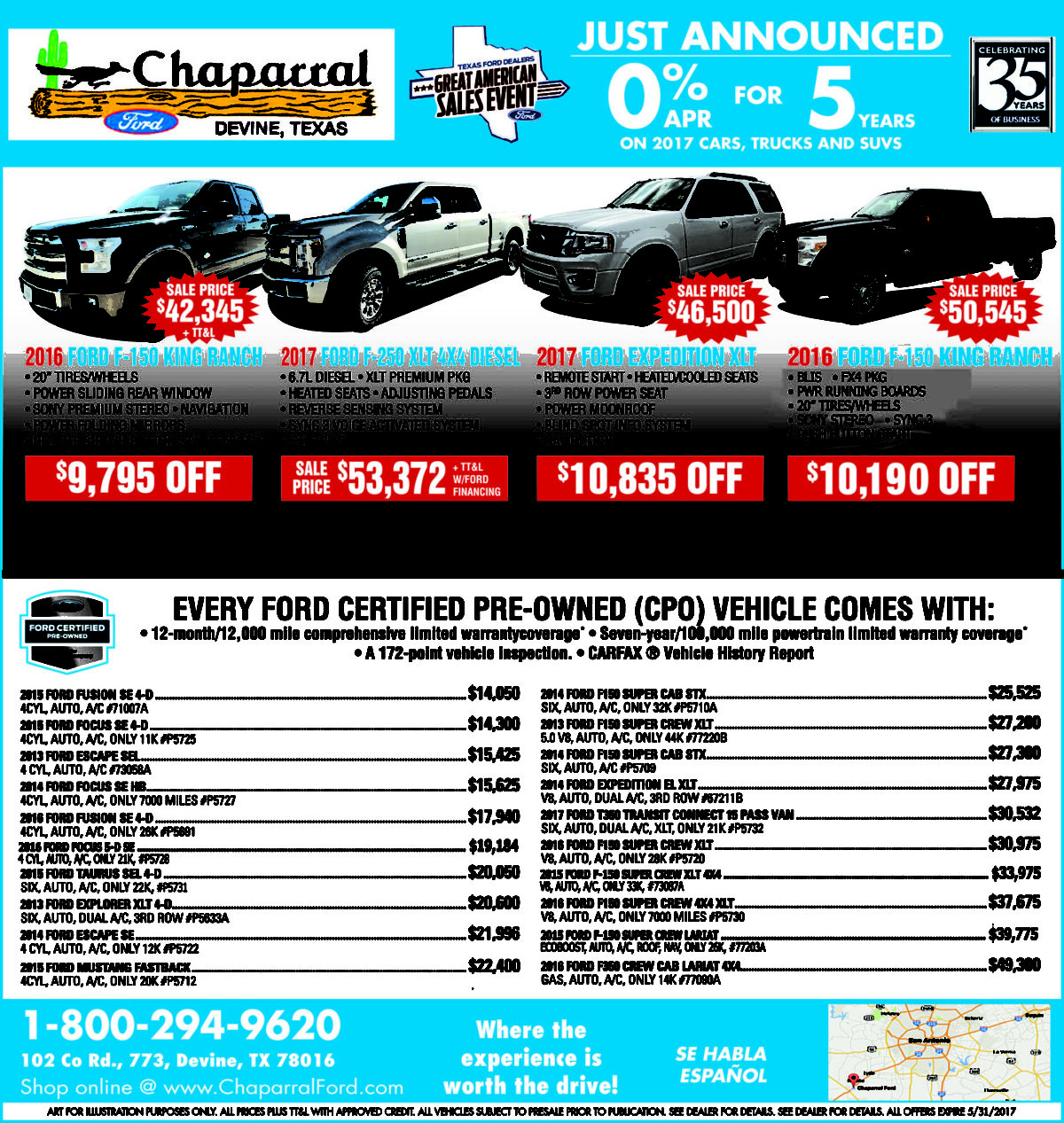 Chaparral Ford deals for the week of 5-24-17