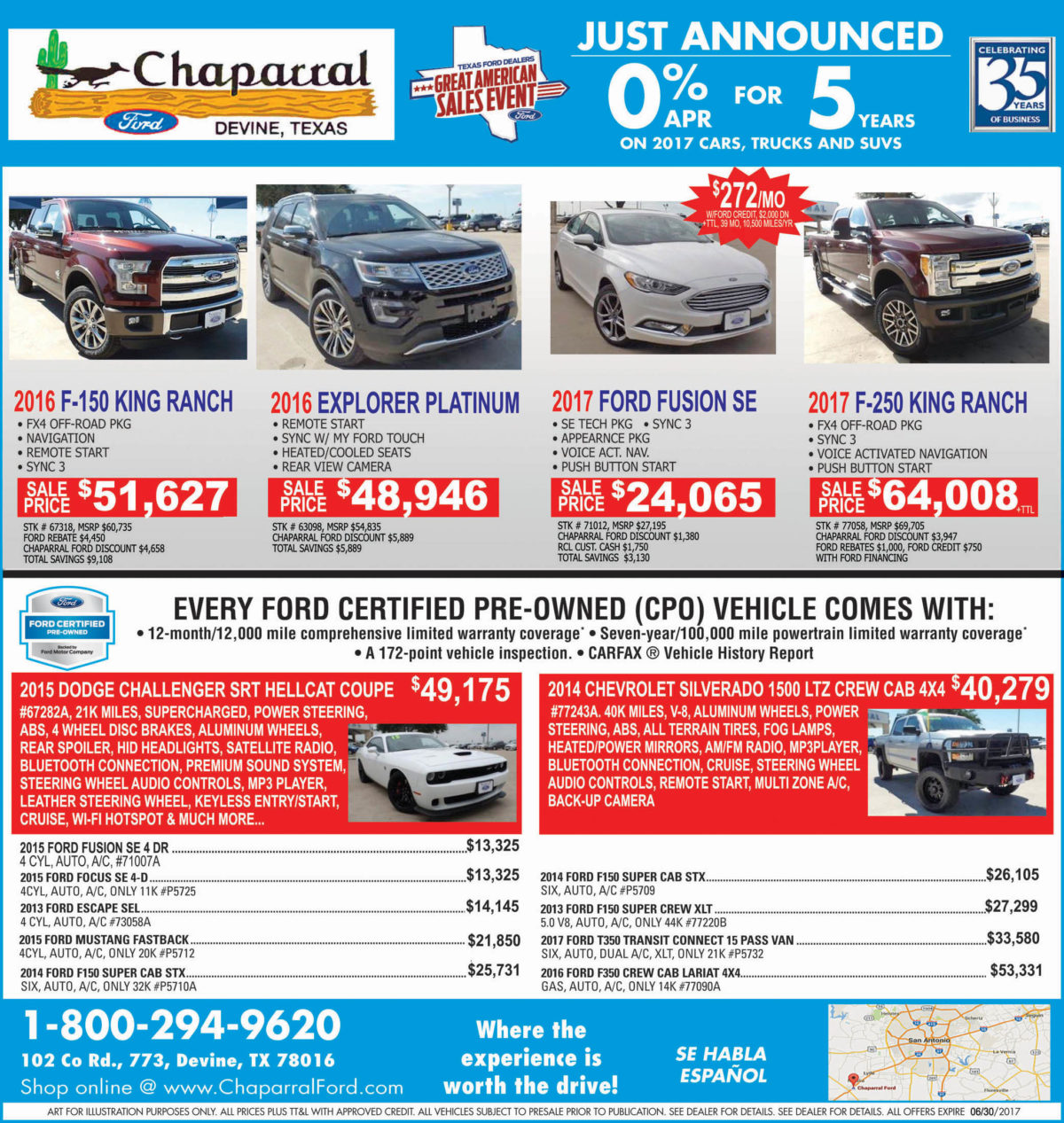 Chaparral Ford deals for the week of 6-7-17