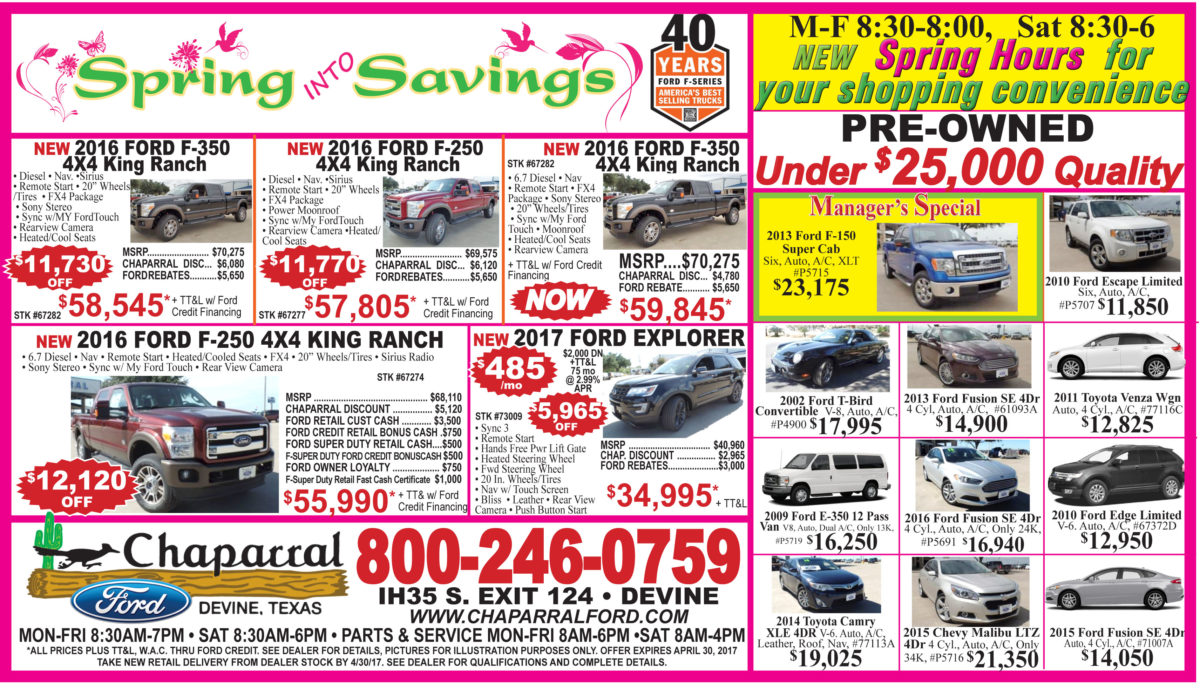 Chaparral Ford deals for the week of April 5