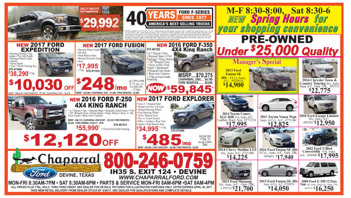 Chaparral Ford deals for the week of 4-26-17