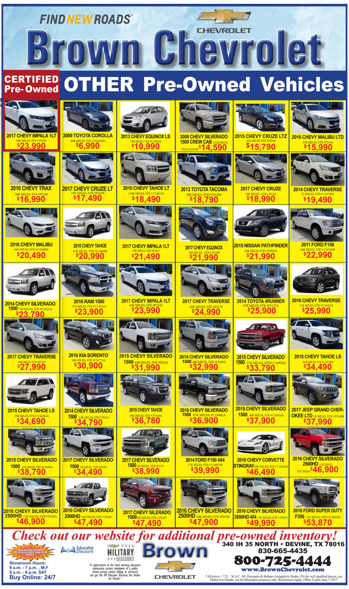 Brown Chevrolet deals for the week of 5-31-17