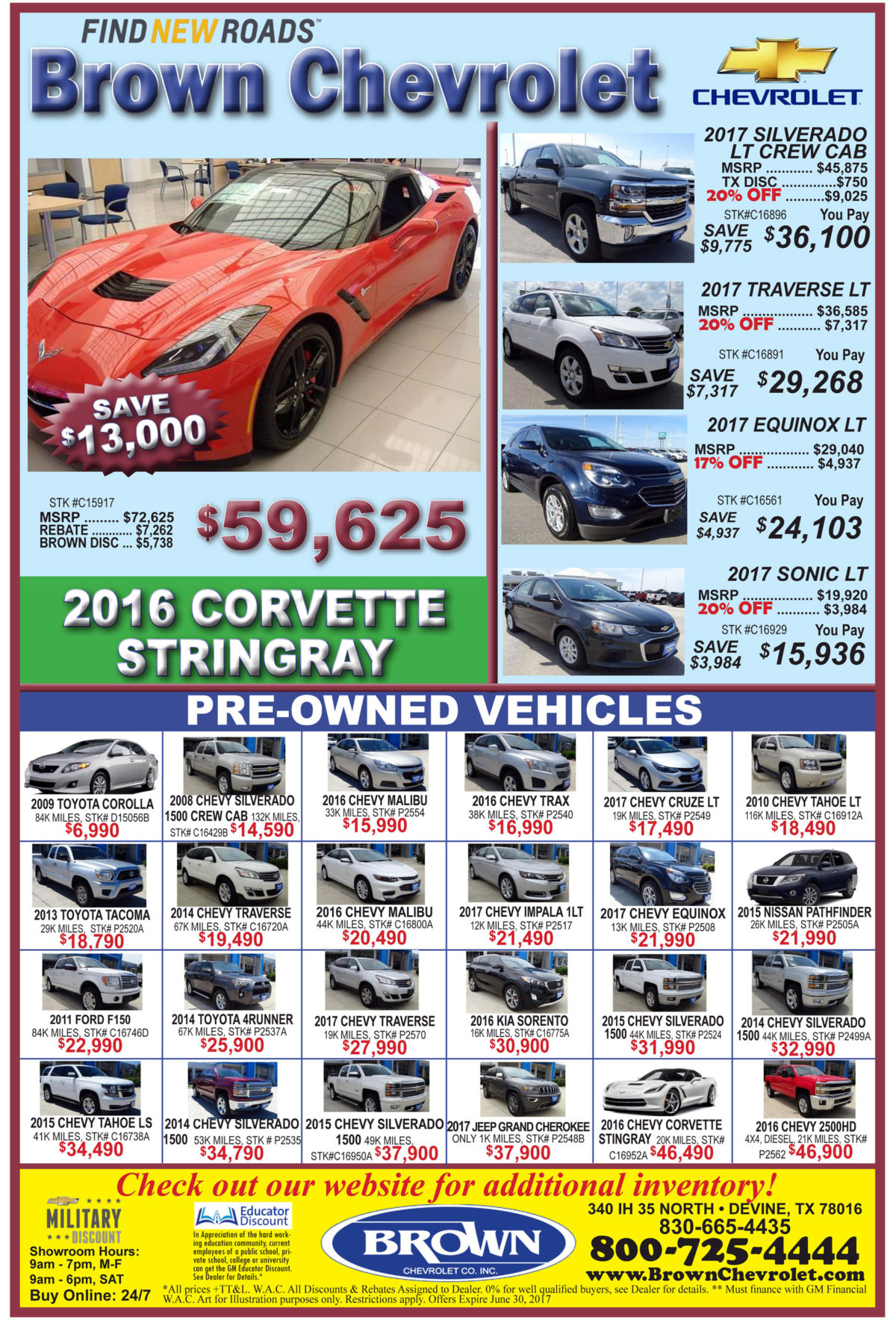 Brown Chevrolet deals for the week of 6-7-17