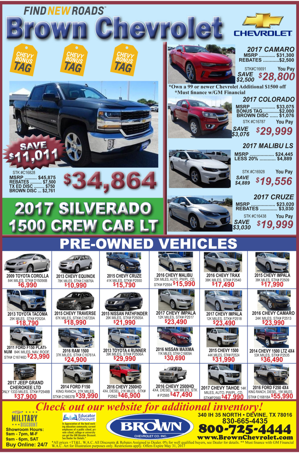 Brown Chevrolet deals for the week of 5-17-17
