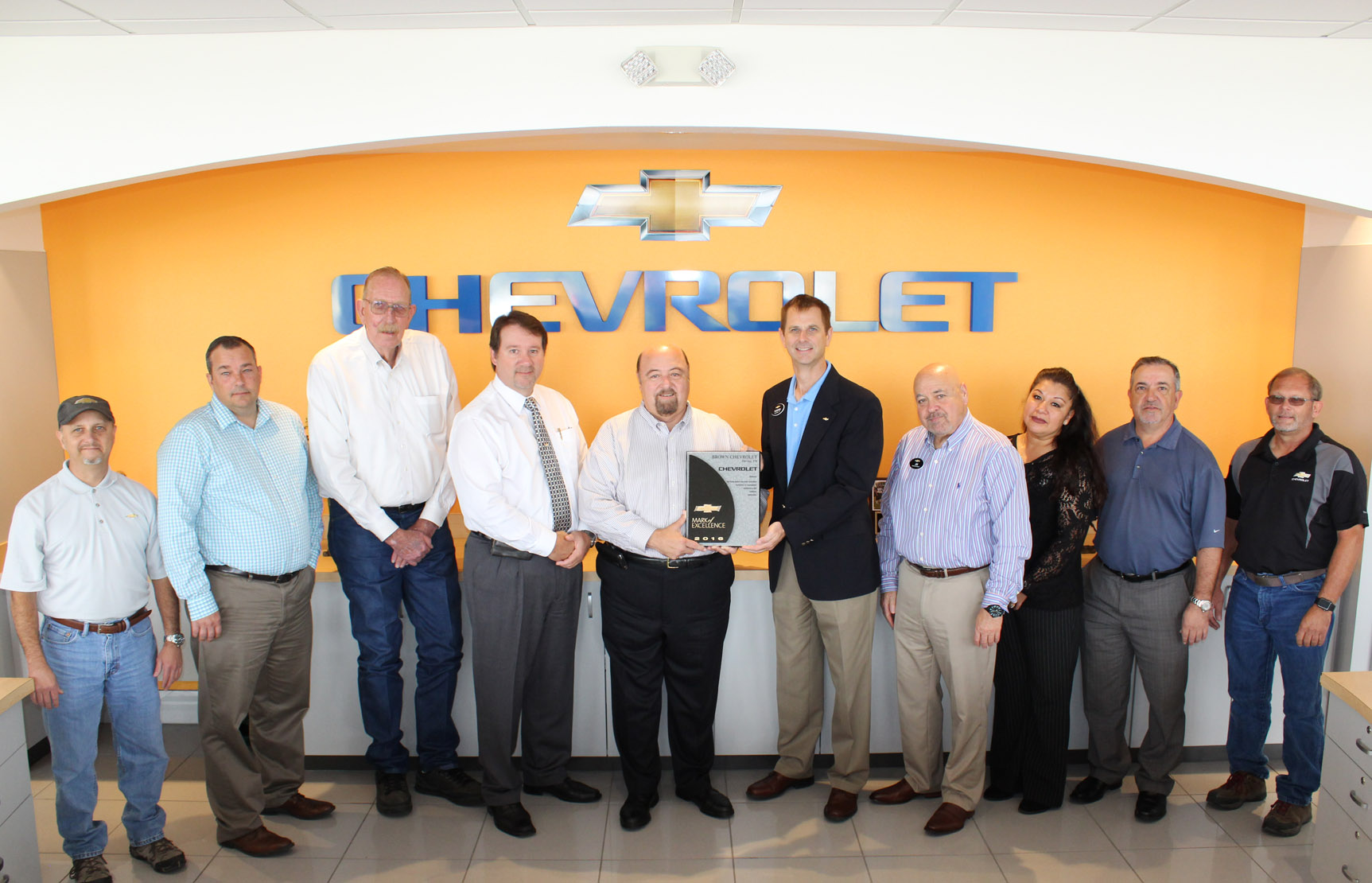 Brown Chevrolet Recognized With 2016 GM Mark Of Excellence Award