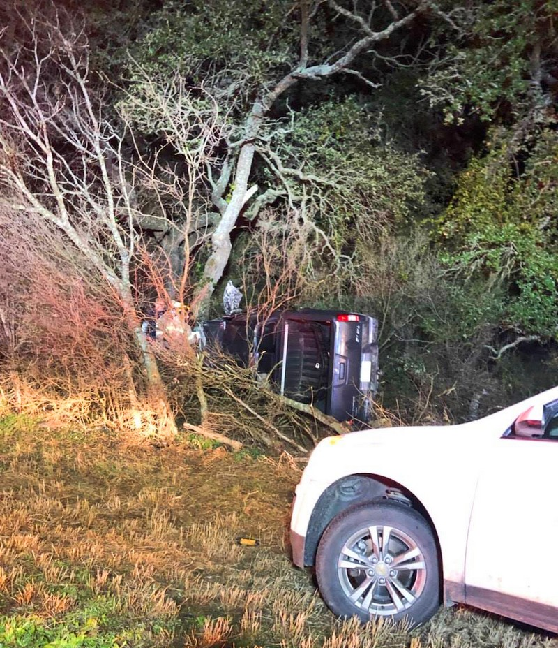 Driver pinned as roof caves in, passerby spots truck hidden in heavy brush