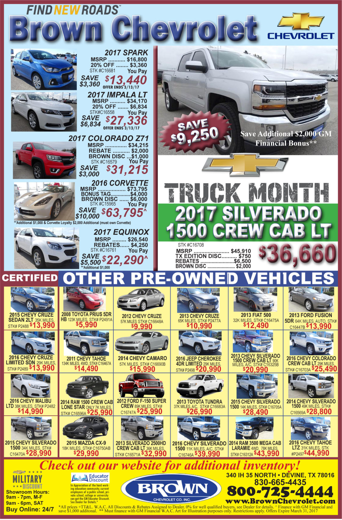 Brown Chevrolet weekly deals