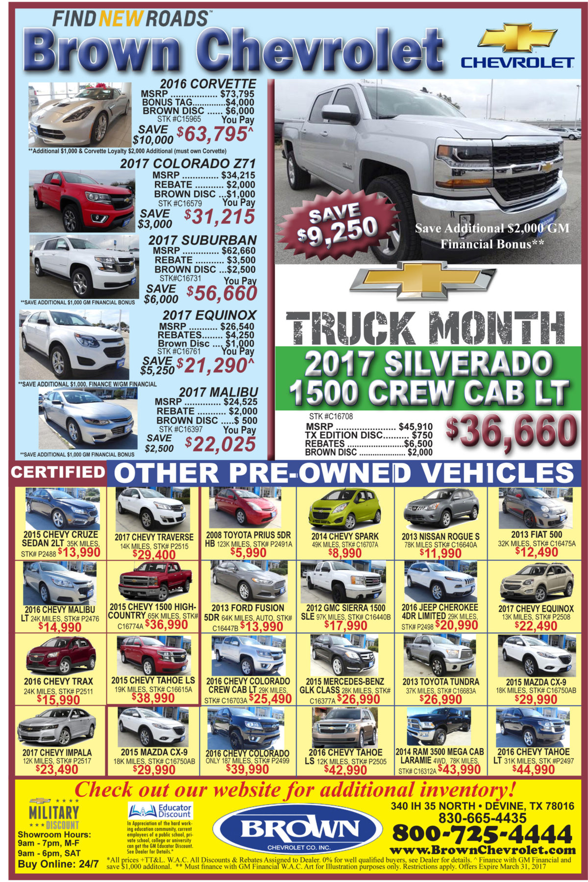 Weekly Brown Chevy deals