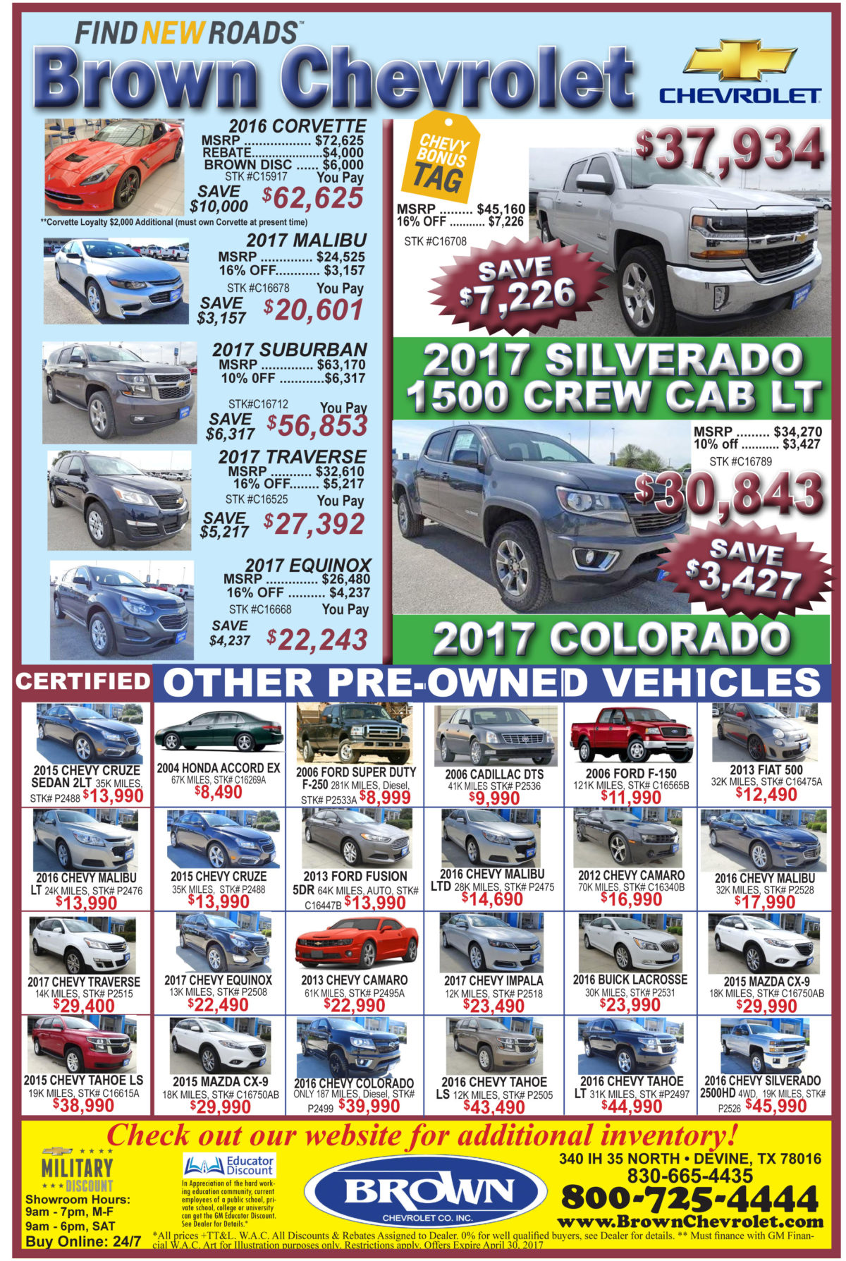 Brown Chevy deals for the week of 4-12-17