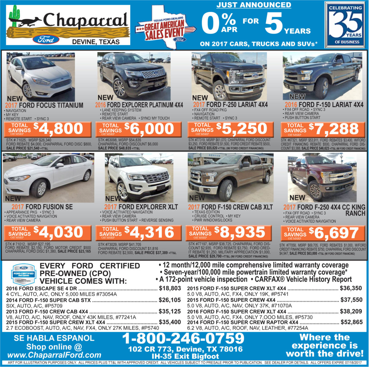 Chaparral Ford deals for the week of 7-12-17