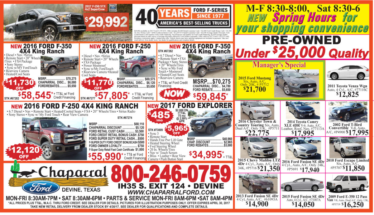Chaparral Ford deals for the week of April 19, 2017