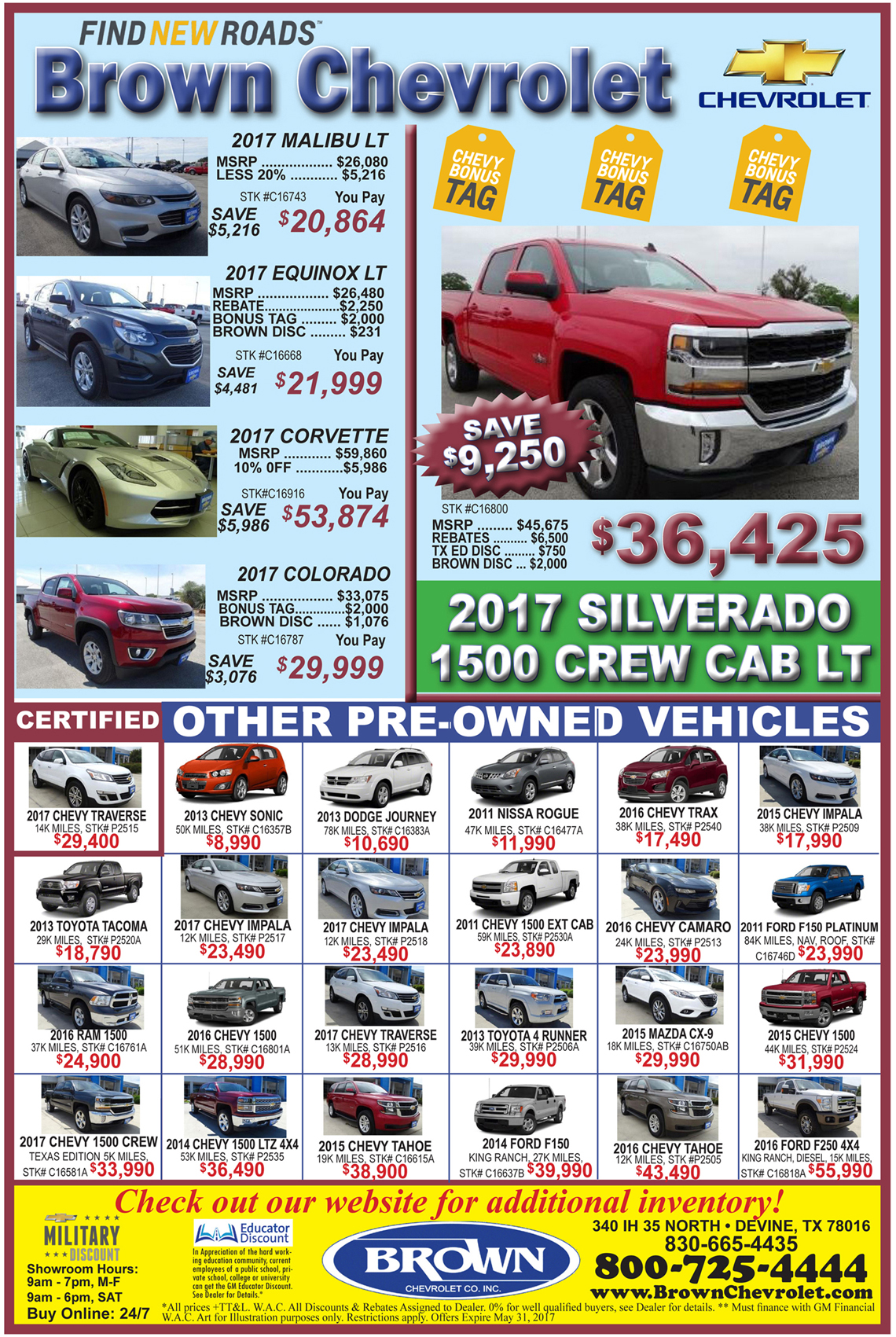 Brown Chevrolet deals for the week of 5-3-17