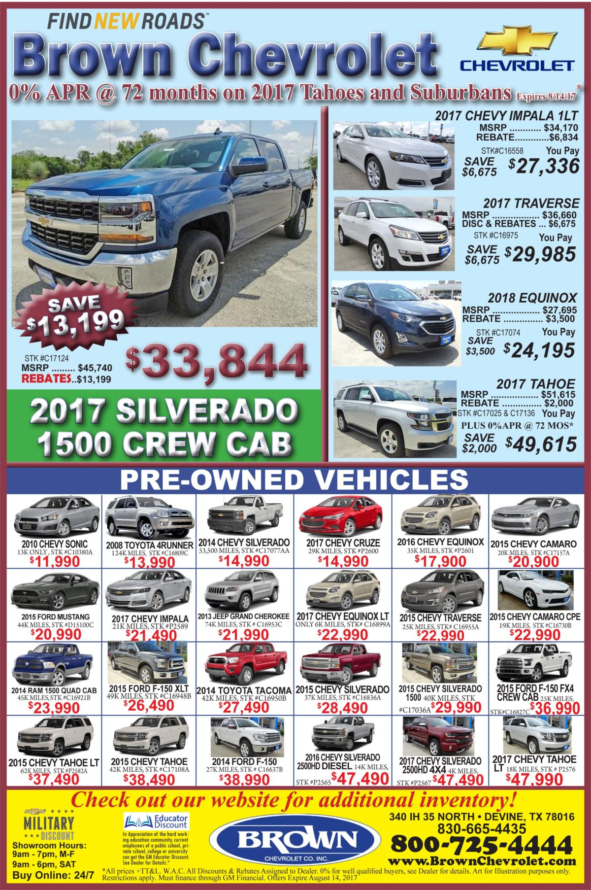 Brown Chevrolet deals for the week of 8-9-17