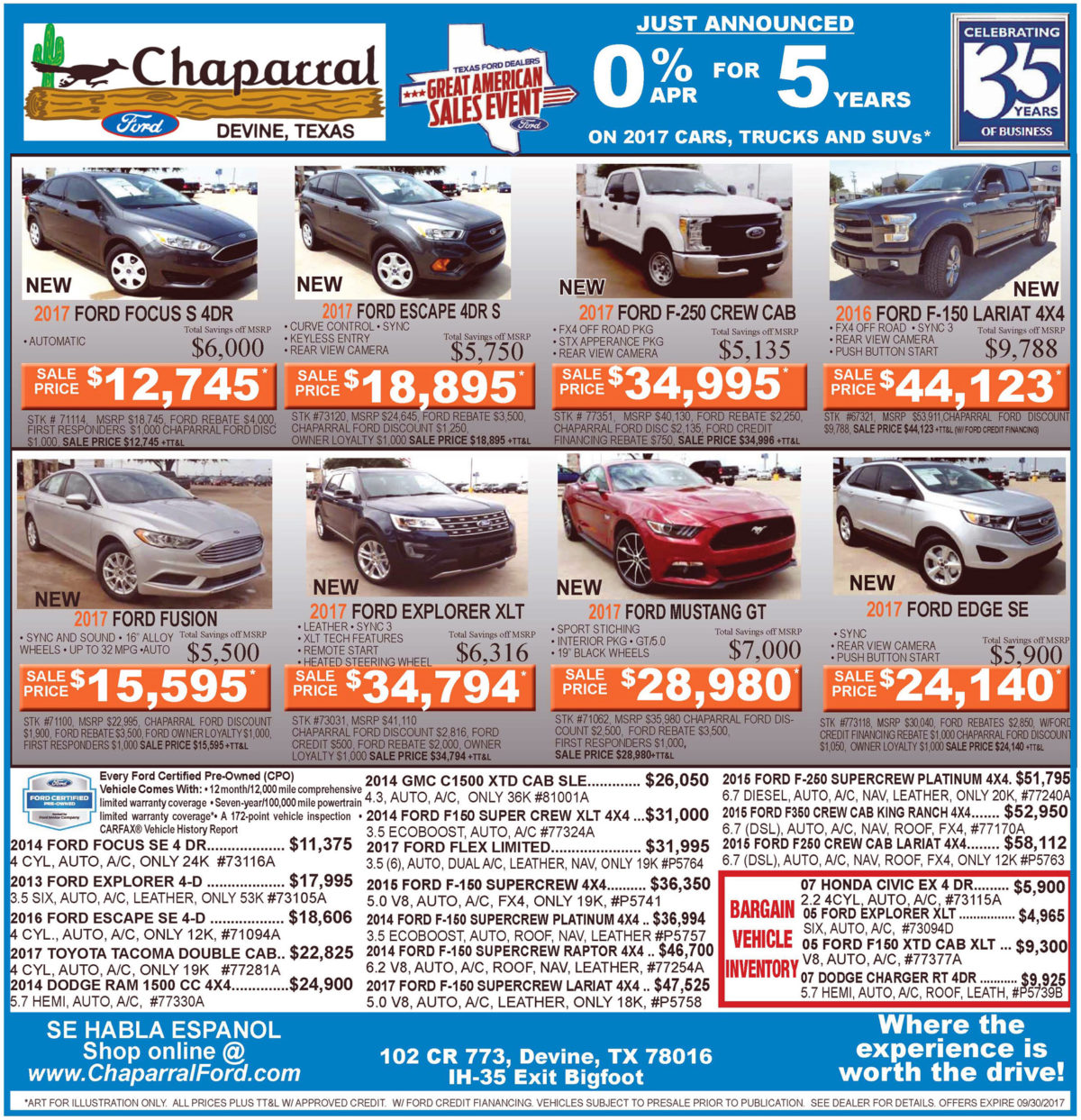 Chaparral Ford deals for the week of September 20, 2017