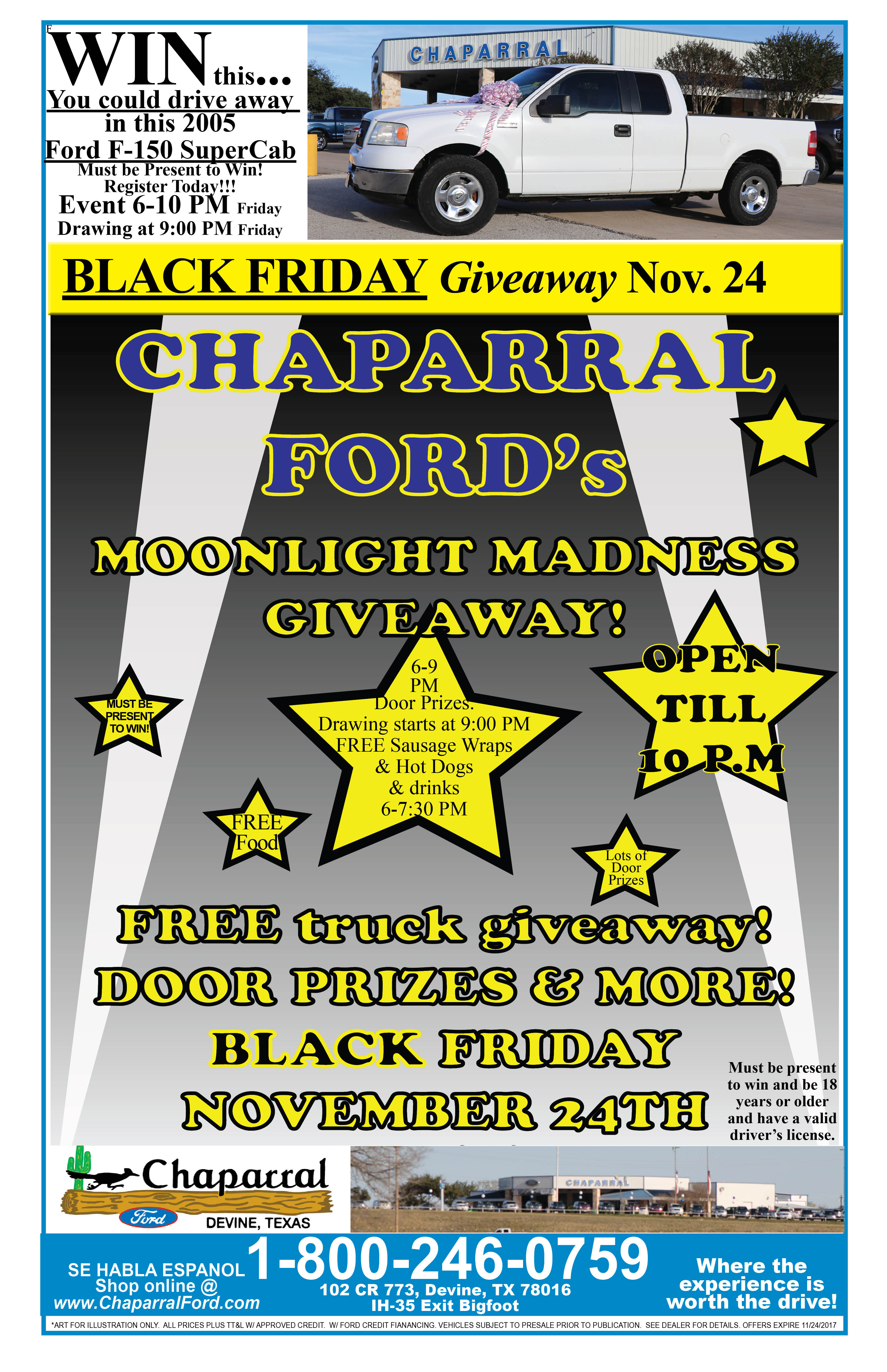 Chaparral Ford giving away truck in Moonlight Madness
