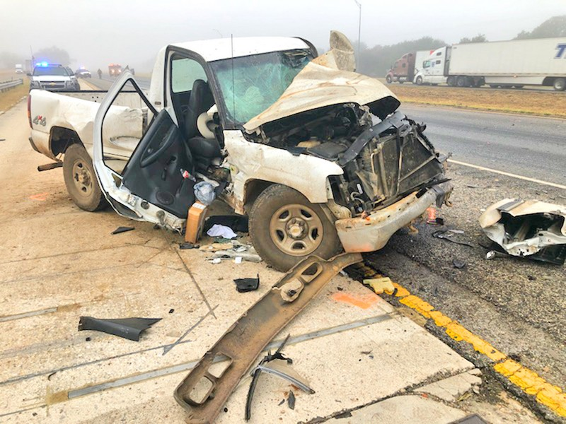 Four transported, one local man severely injured in 5-car pileup