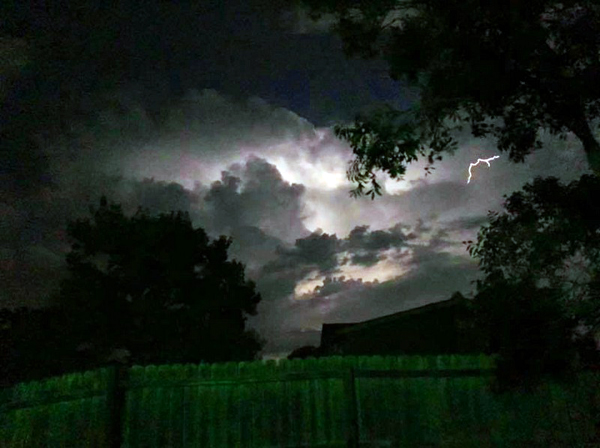 Two lightning strikes in Devine area during Monday's storms