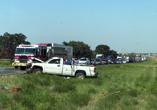 Blowout causes IH-35 rollover
